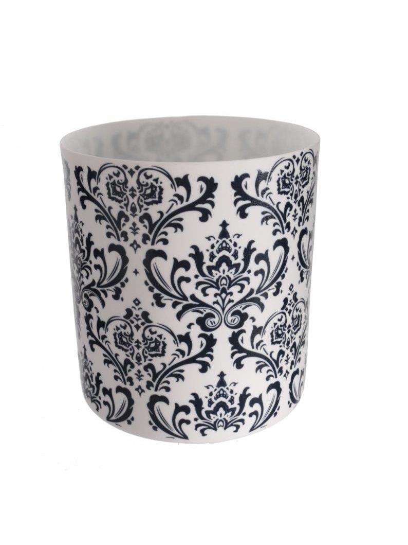 Čajový svietnik porcelánový Dahlia, 9 cm, biela/tm. modrá
