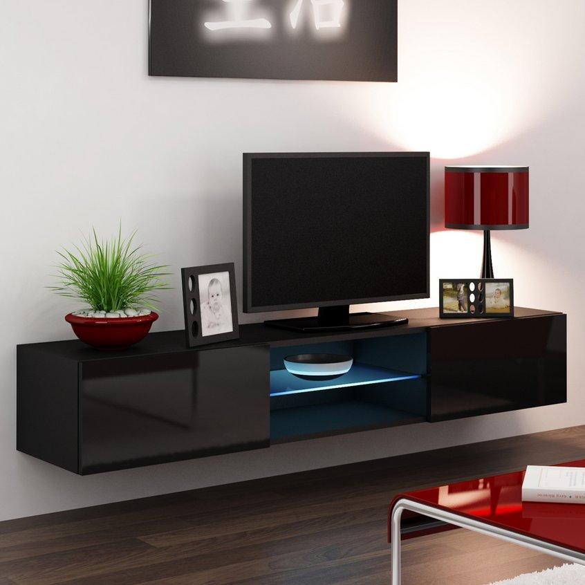 CAMA MEBLE Nástenný TV stolík VIGO 180 GLASS Farba: čierna
