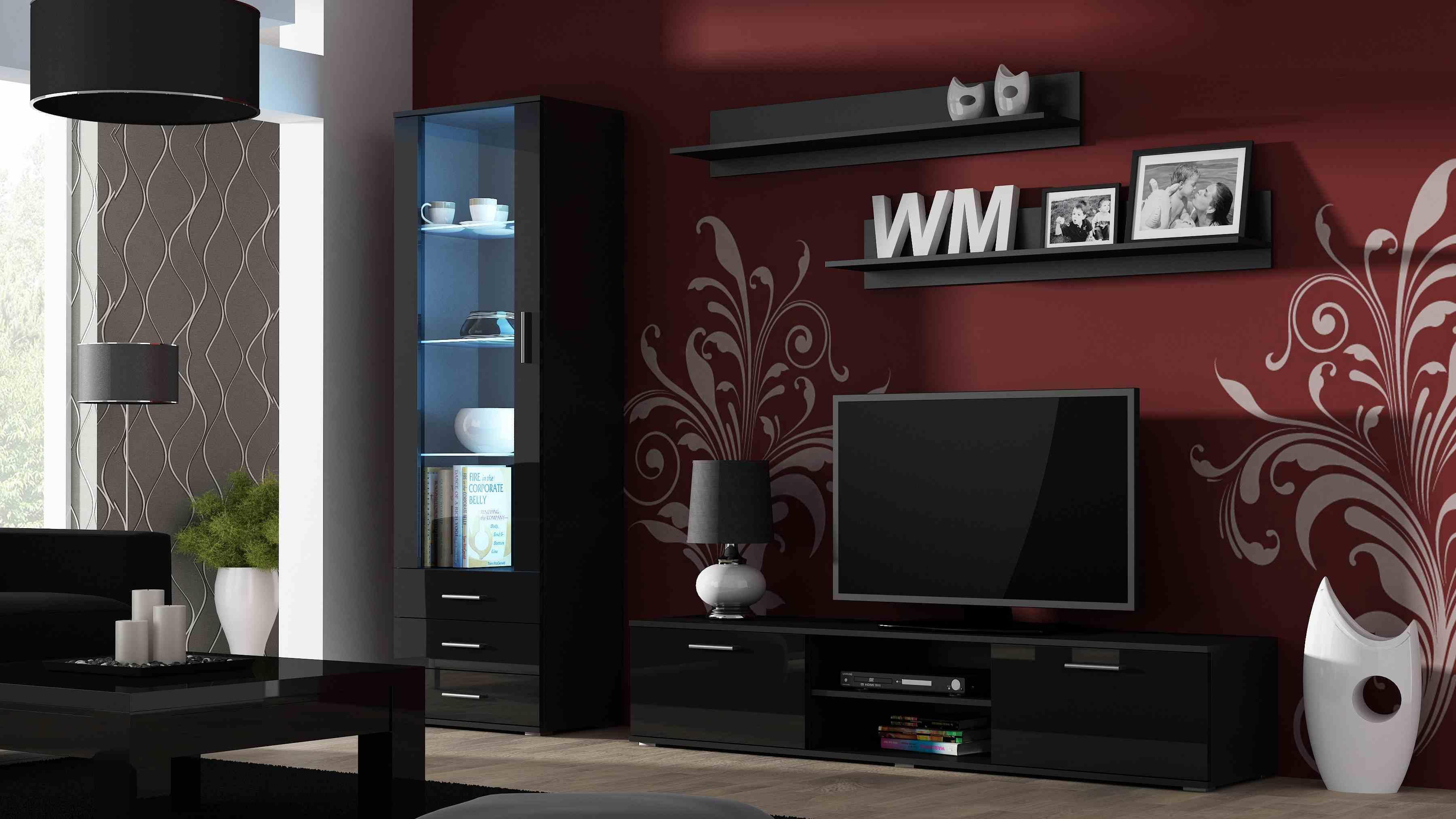 CAMA MEBLE Obývacia stena SOHO 1 Farba: čierna