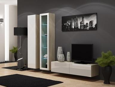 CAMA MEBLE Obývacia stena VIGO 10 Farba: dub sonoma/biela