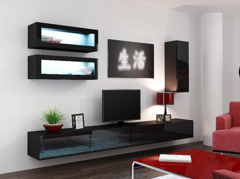 CAMA MEBLE Obývacia stena VIGO 11 Farba: čierna