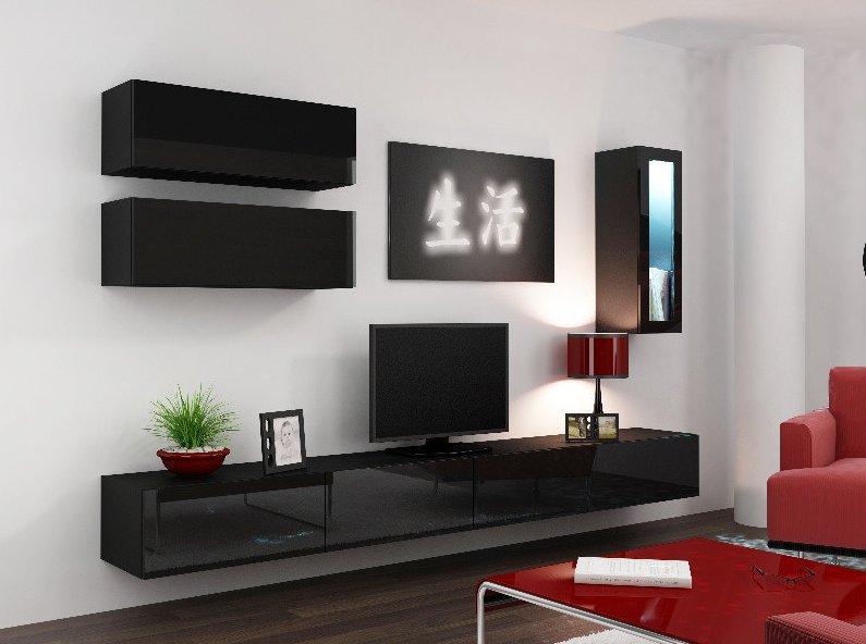 CAMA MEBLE Obývacia stena VIGO 12 Farba: čierna