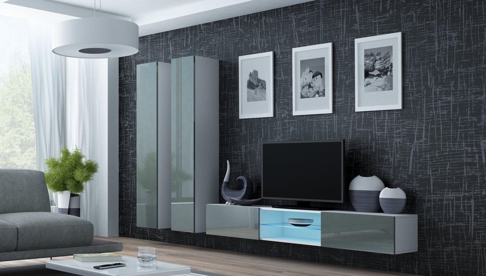 CAMA MEBLE Obývacia stena VIGO 19 Farba: biela/sivá