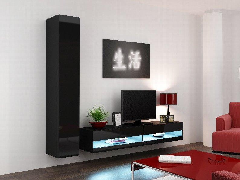 CAMA MEBLE Obývacia stena VIGO NEW 9 Farba: čierna