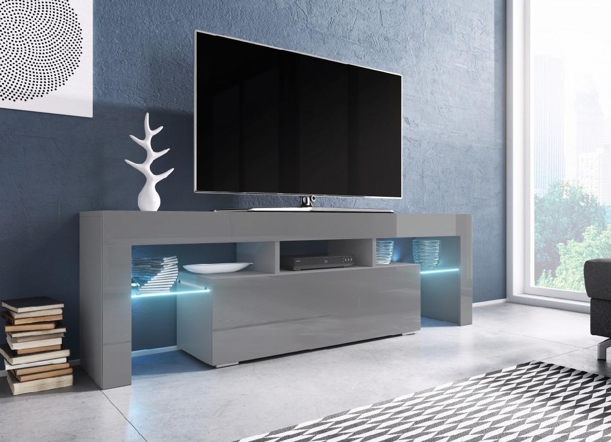 CAMA MEBLE Toro 138 tv stolík sivá / sivý lesk