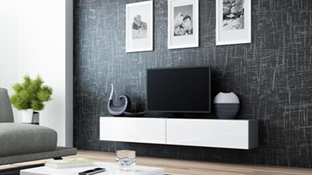 CAMA MEBLE Vigo 180 tv stolík na stenu sivá / biely lesk