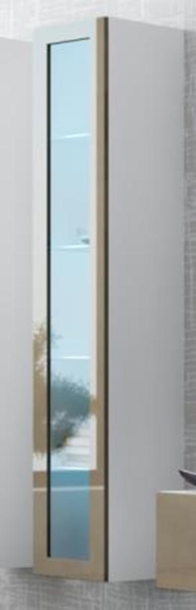 CAMA MEBLE Vigo 180 vitrína na stenu so sklom biela / latte lesk