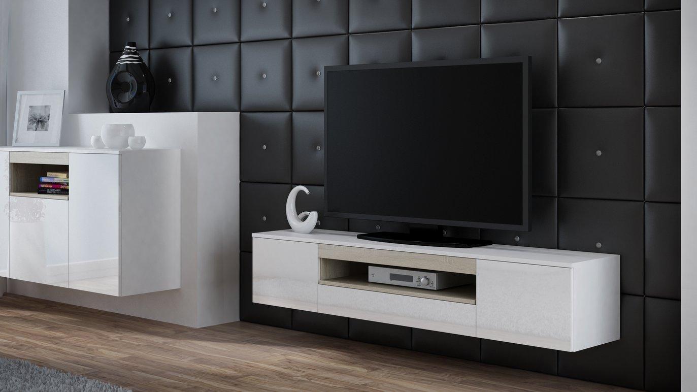 CAMA MEBLE Závesný televízny stolík VIVA Farba: biela/dub sonoma