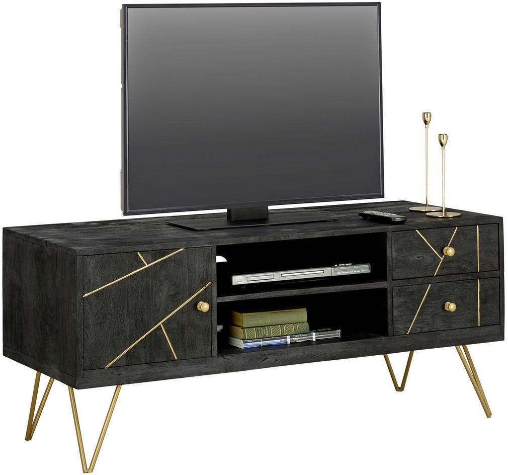 Carryhome KOMODA 'LOWBOARD', čierna, zlatá, 130/57/53 cm - čierna, zlatá