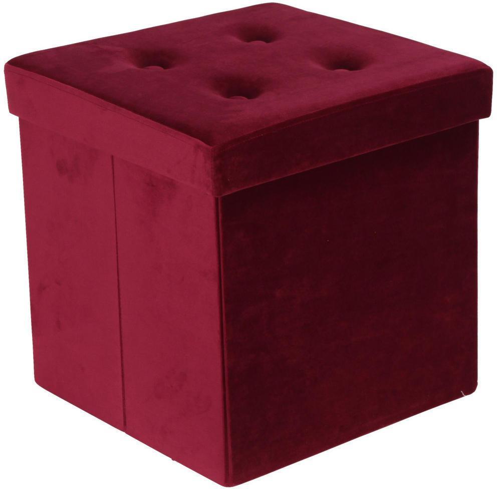 Carryhome SEDACÍ BOX, textil, kompozitné drevo, 38/38/38 cm - červená