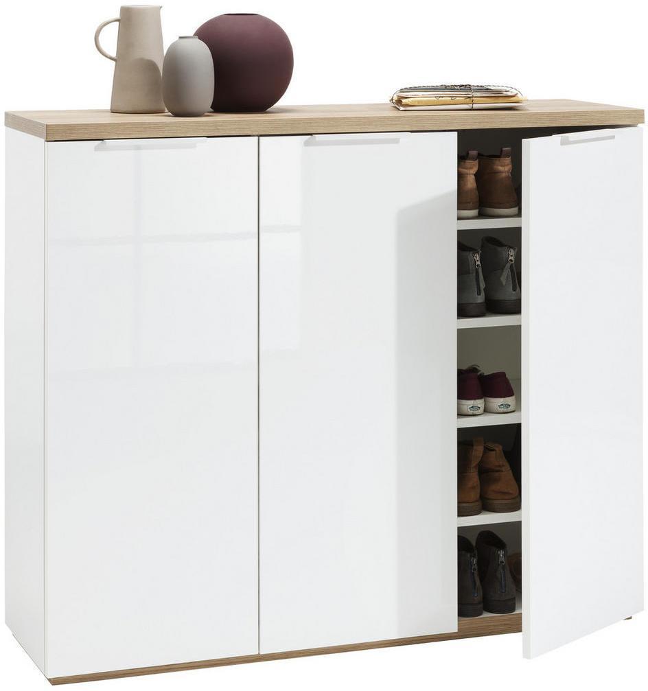 Carryhome SKRINKA NA TOPÁNKY, biela, farby dubu, 120/102,3/35 cm - biela, farby dubu