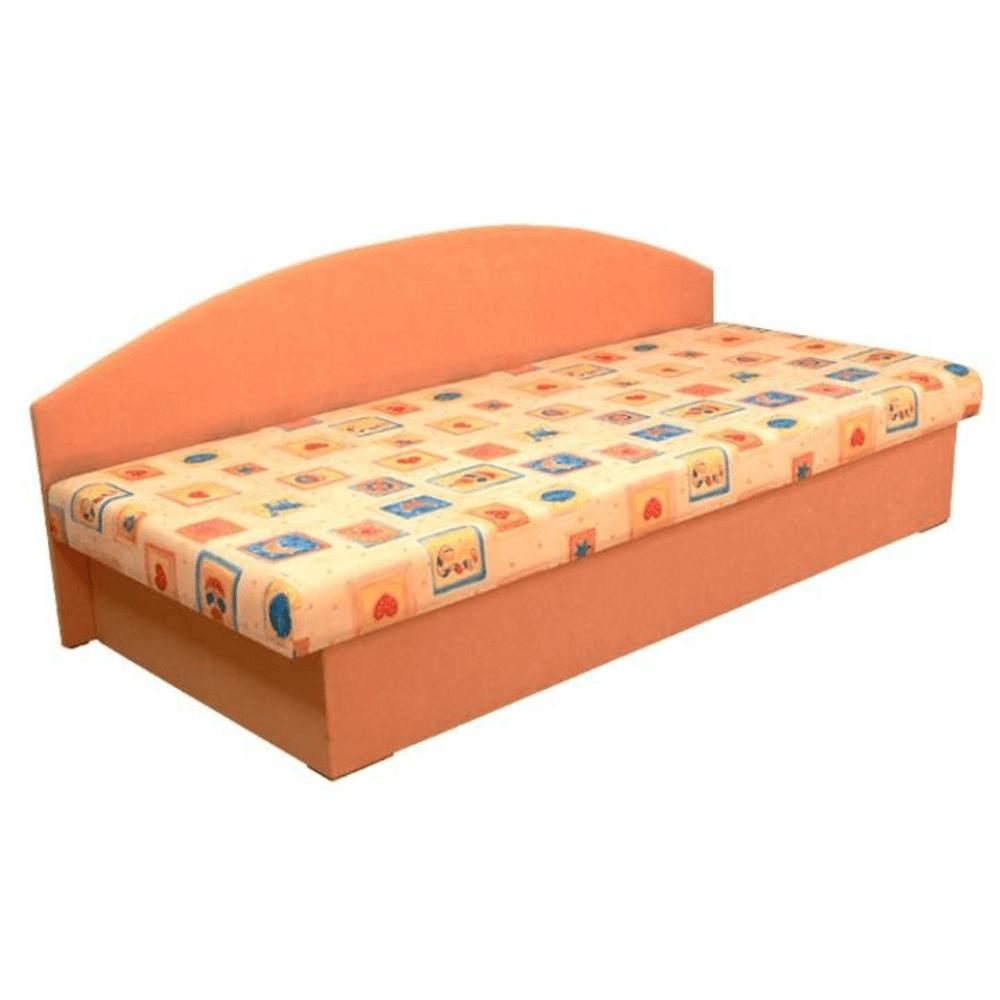Celočalúnená váľanda so sendvičovým matracom, oranžová/vzor, EDVIN 03