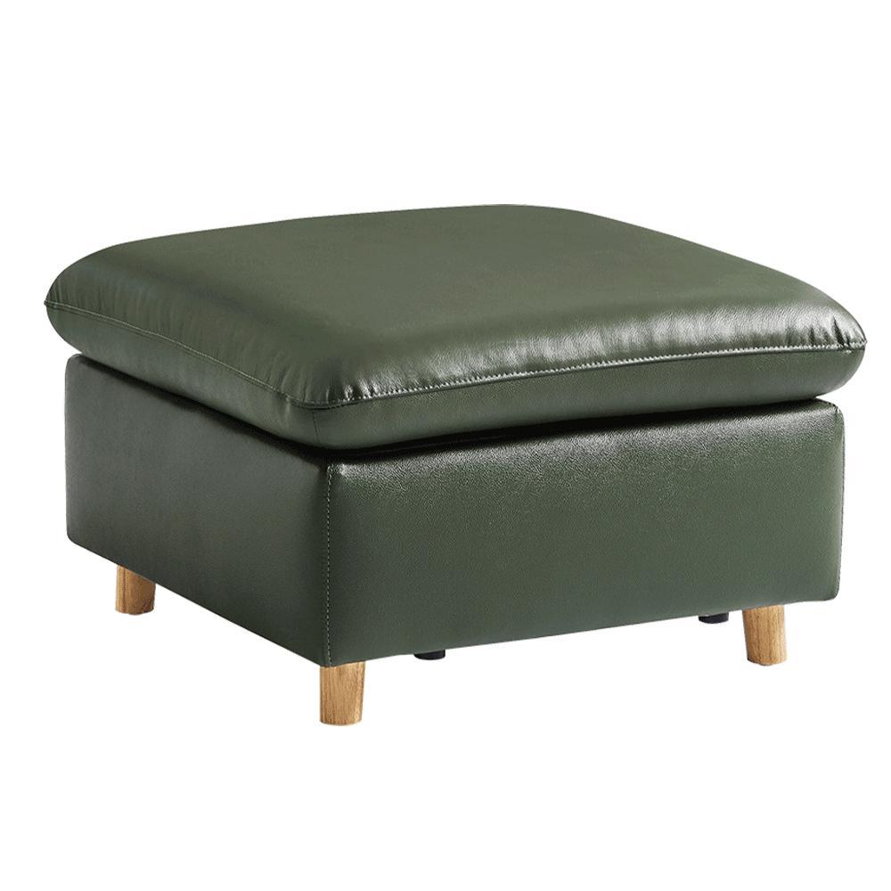 Celočalúnený taburet, koža/ekokoža olivovo zelená, LINSY