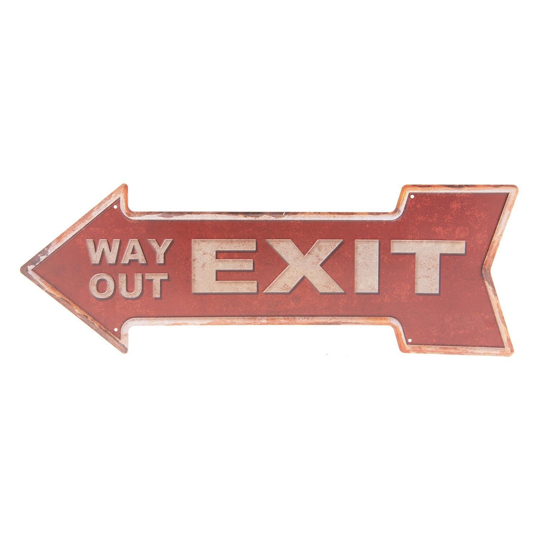 Červená plechová ceduľa Exit - 46 * 15 cm