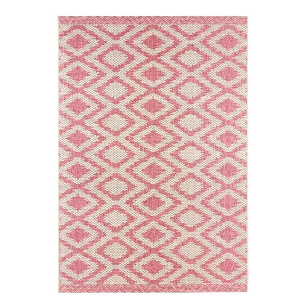 Červeno-krémový vonkajší koberec Bougari Isle, 70 x 140 cm