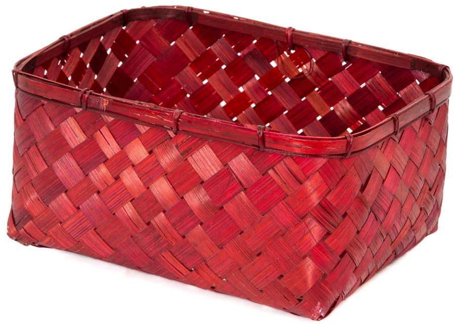 Červený bambusový úložný kôš Compactor Hanoi, 30 x 23 cm