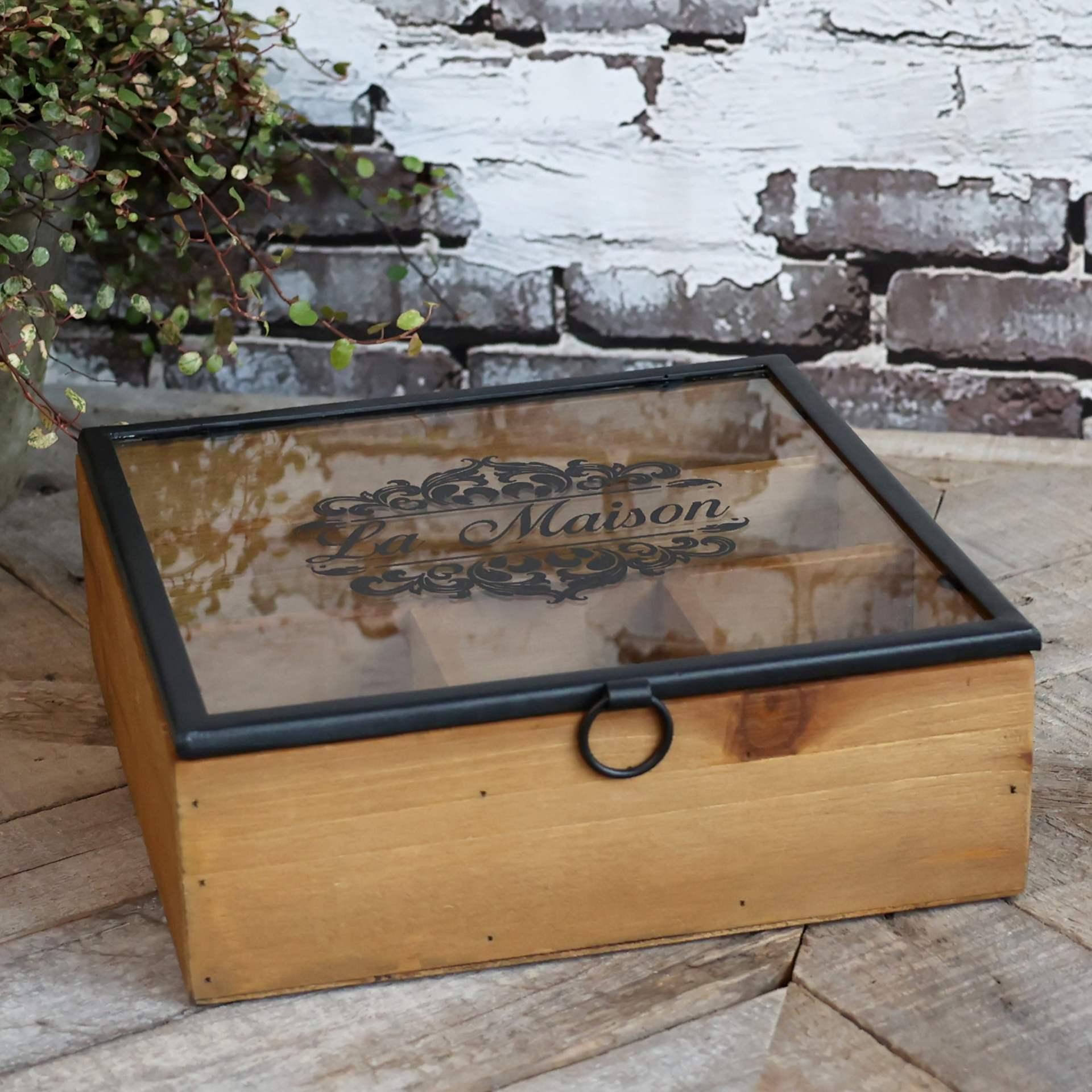 Chic Antique Drevený úložný box s priehradkami La Maison