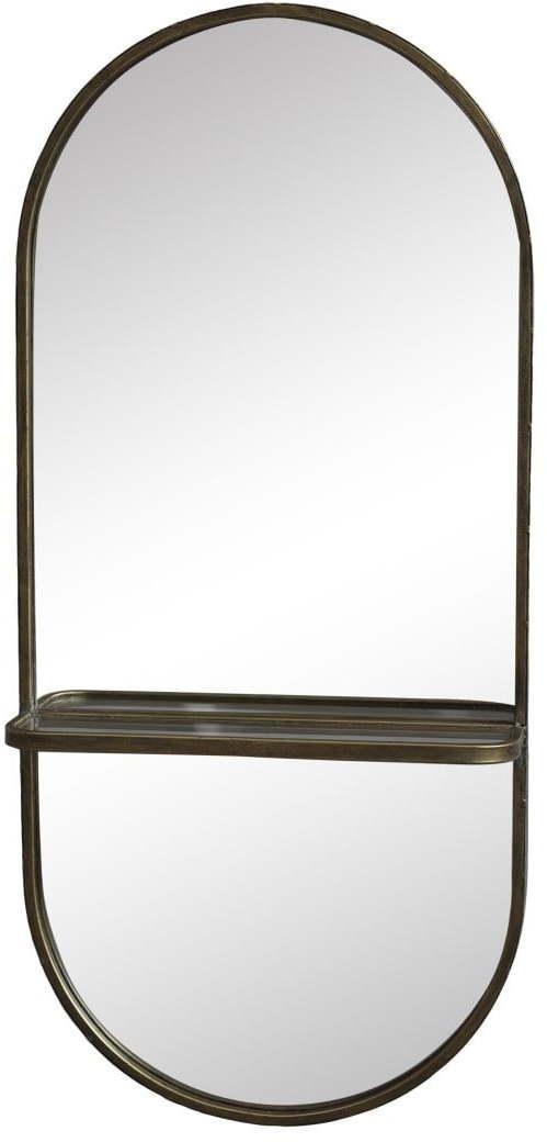 Chic Antique Nástenné zrkadlo s poličkou Antique Brass