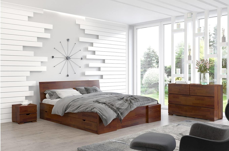 CHROB Drevená posteľ s úložným priestorom Hessler borovica - palisander Rozmer postele: 160 x 200 cm