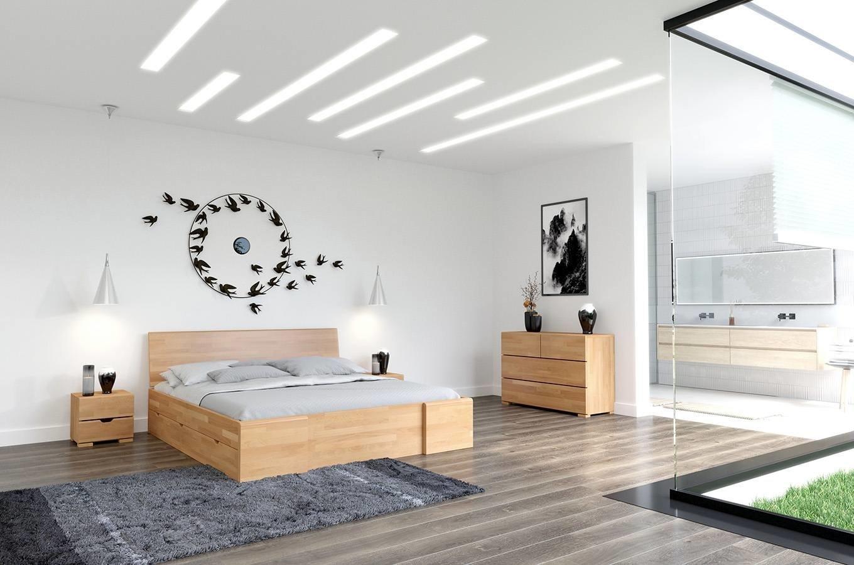 CHROB Drevená posteľ s úložným priestorom Hessler buk - palisander Rozmer postele: 200 x 200 cm