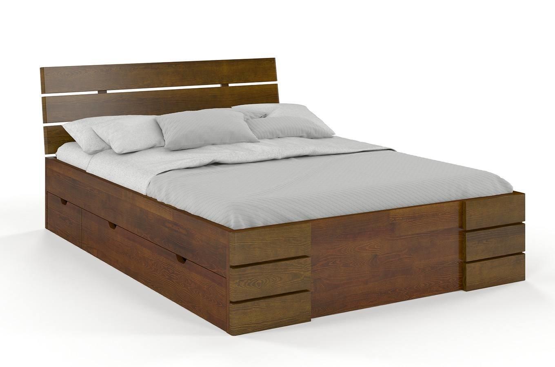 CHROB Posteľ z masívu Sandemo borovica s úložným priestorom - orech Rozmer postele: 180 x 200 cm