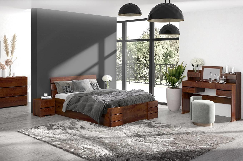 CHROB Posteľ z masívu Sandemo borovica s úložným priestorom - palisander Rozmer postele: 200 x 200 cm