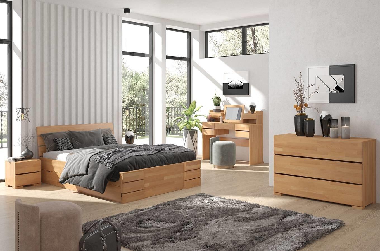 CHROB Posteľ z masívu Sandemo buk s úložným priestorom - palisander Rozmer postele: 140 x 200 cm