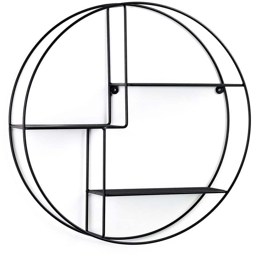 Čierna okrúhla nástenná polica La Forma, ø 55 cm