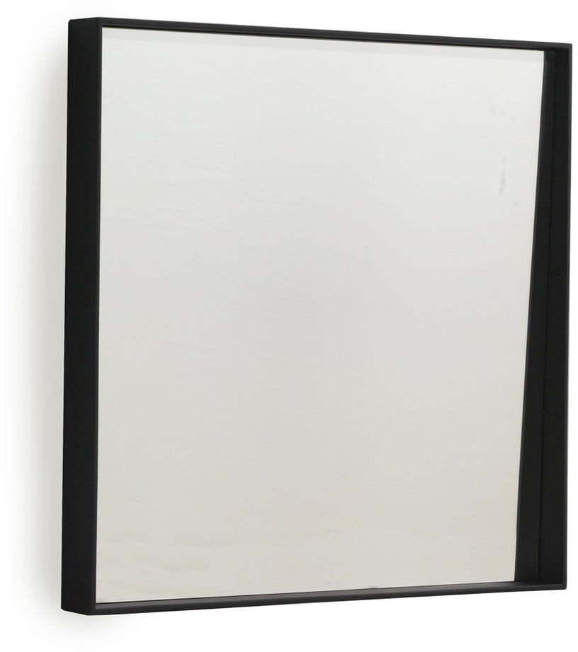 Čierne nástenné zrkadlo Geese Thin, 40 × 40 cm