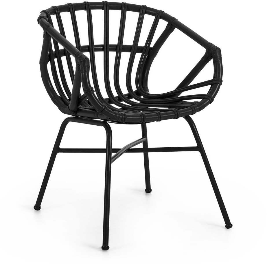 Čierne záhradné ratanové kreslo s oceľovými nohami La Forma Constant