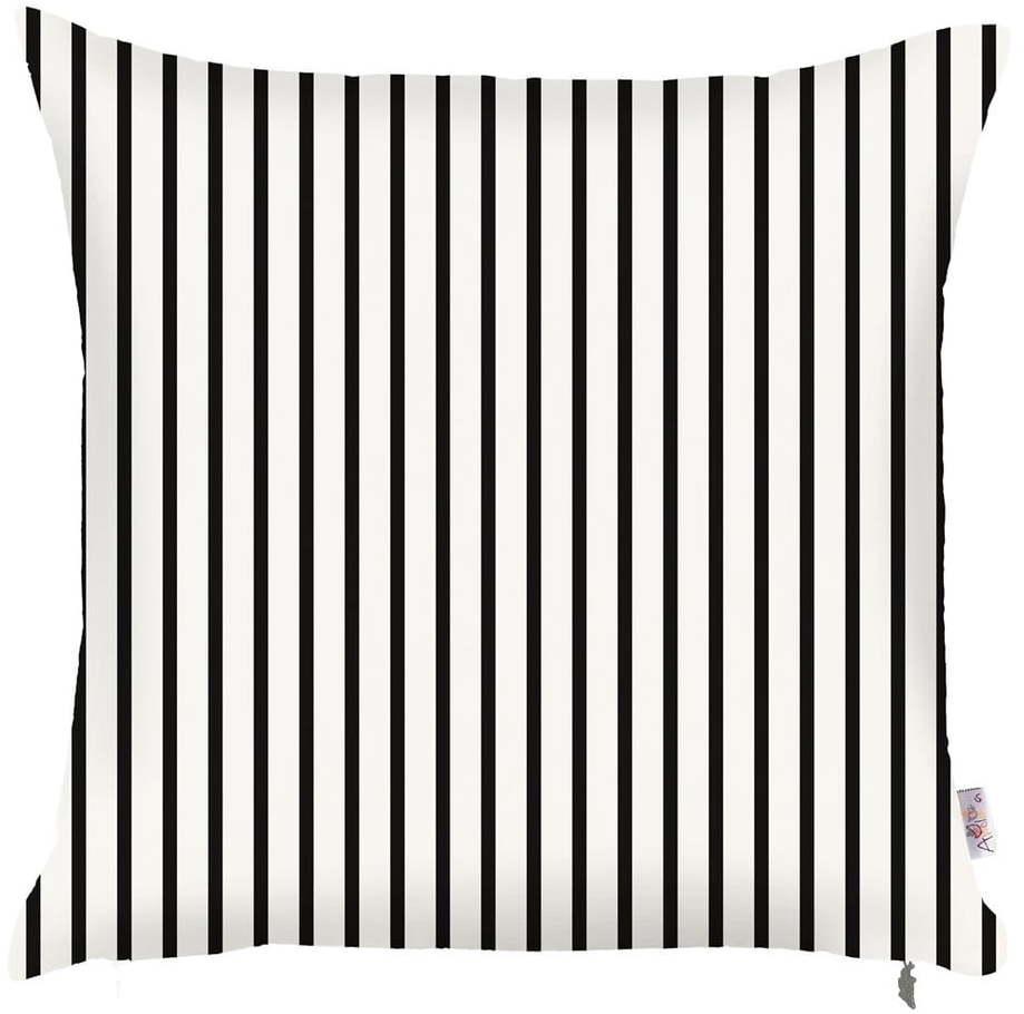 Čierno-biela obliečka na vankúš Mike & Co. NEW YORK Pinky Light Stripes, 43 × 43 cm