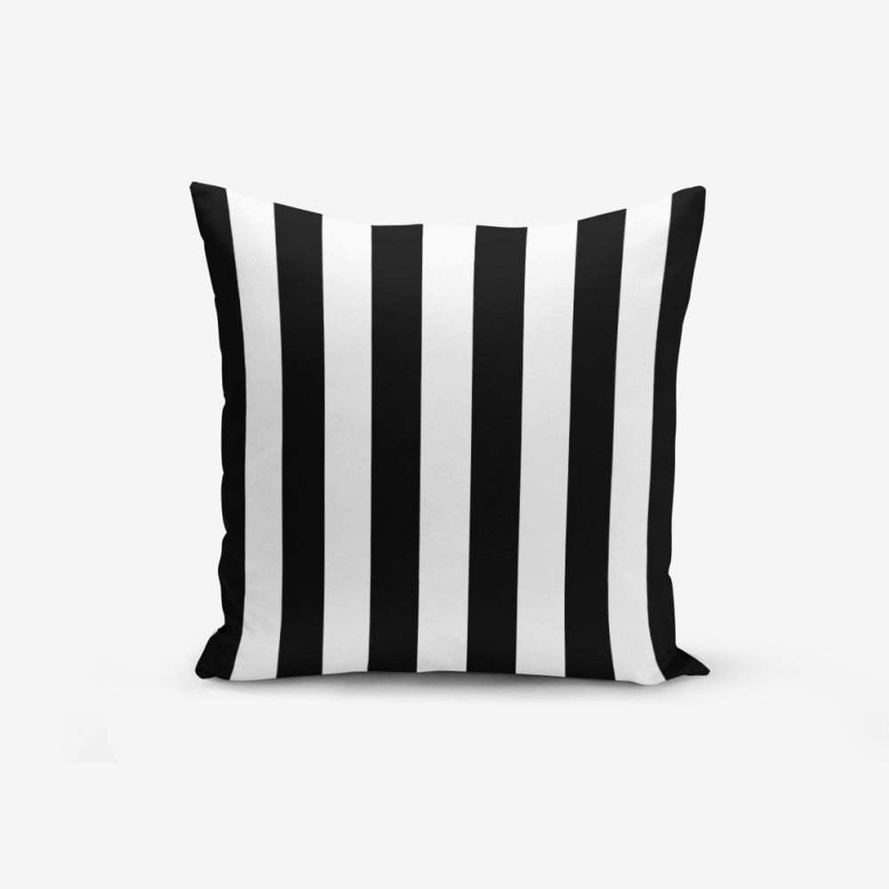 Čierno-biela obliečka na vankúš s prímesou bavlny Minimalist Cushion Covers Black White Striped, 45 × 45 cm