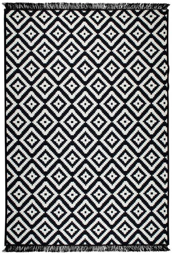 Čierno-biely obojstranný koberec Helen, 80 × 150 cm