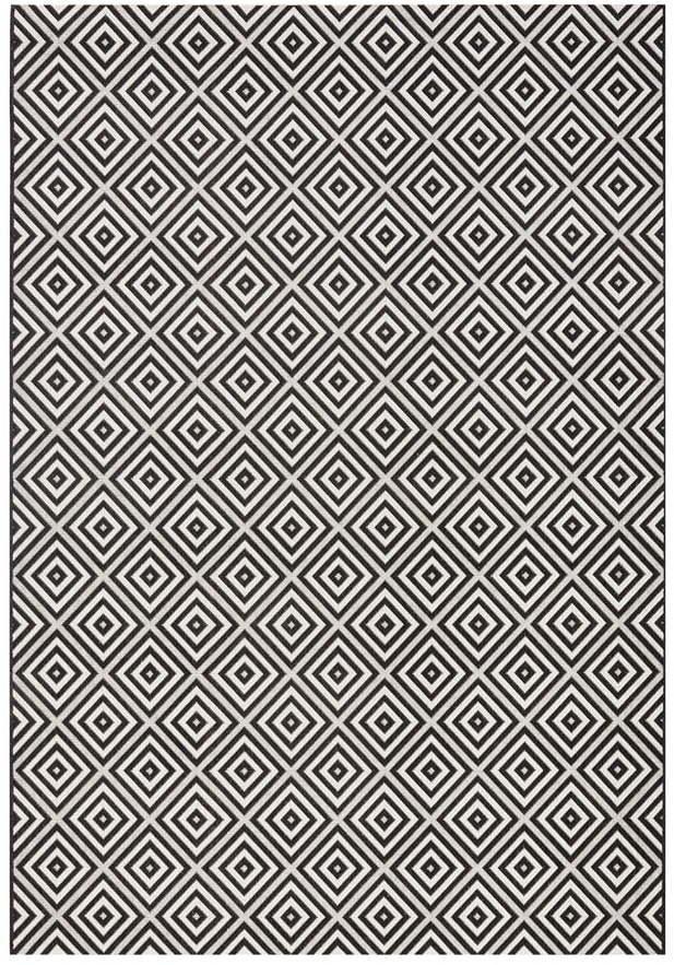 Čierno-biely vonkajší koberec Bougari Karo, 200 × 290 cm
