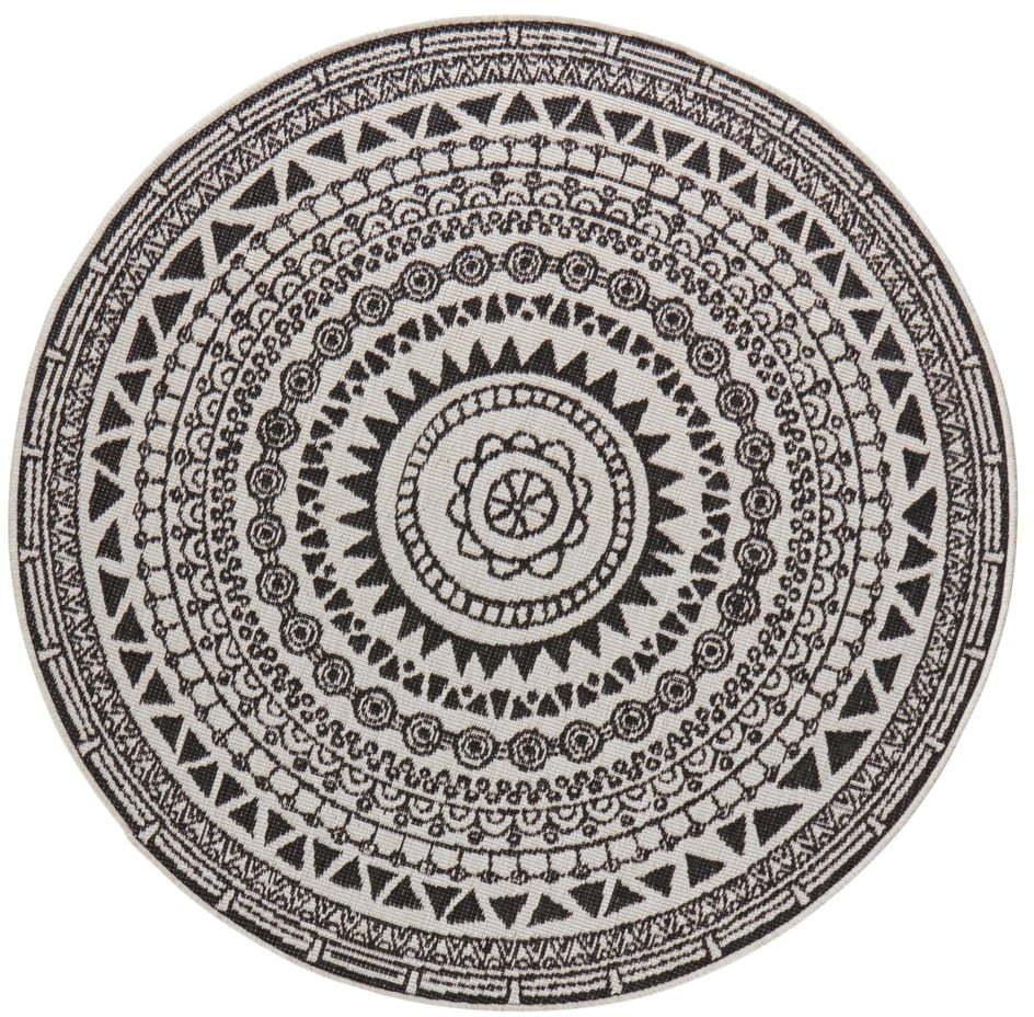 Čierno-krémový vonkajší koberec Bougari Coron, ø 140 cm