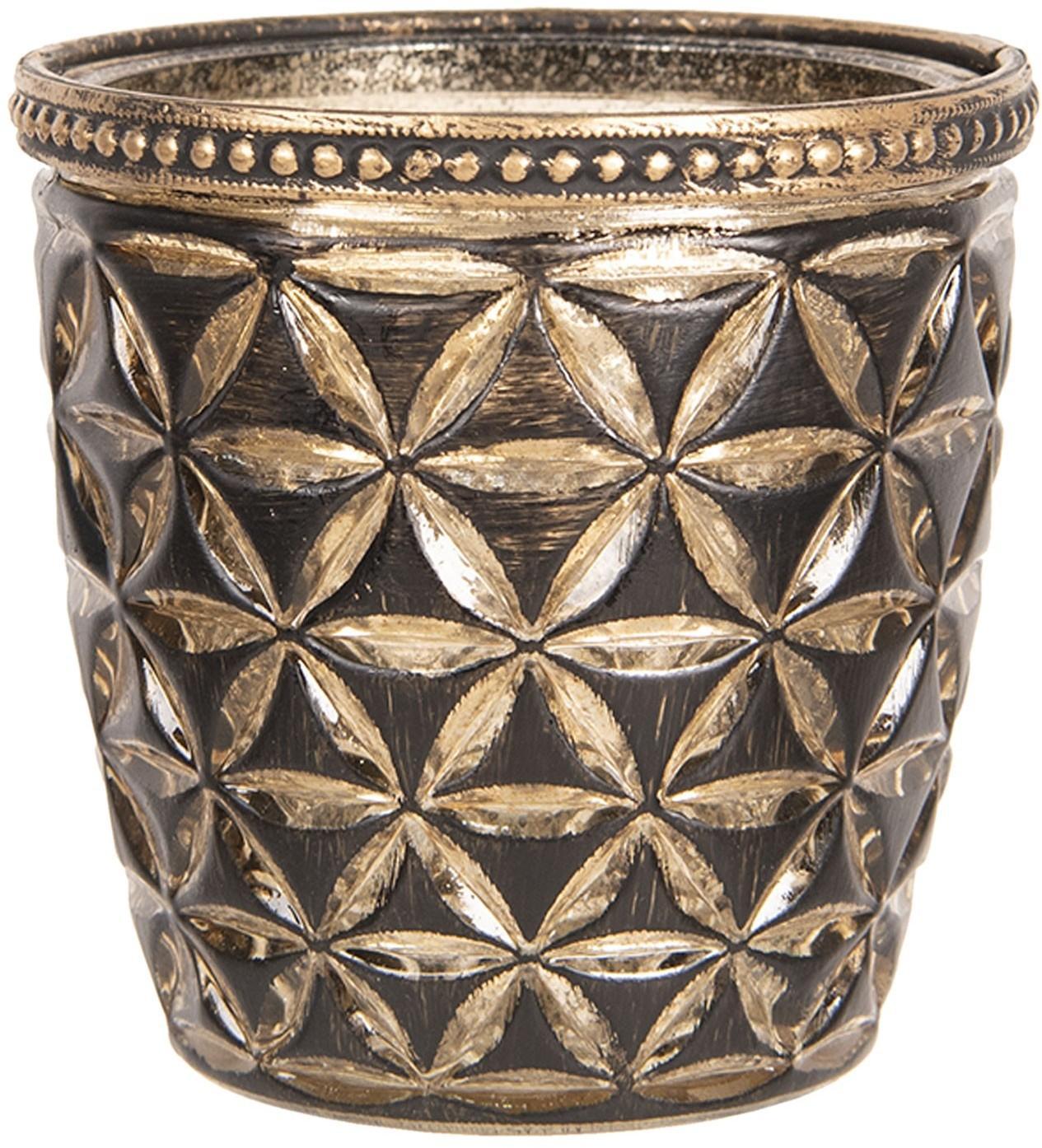 Čierno zlatý sklenený svietnik s patinou Tealight - 9 * 9 cm