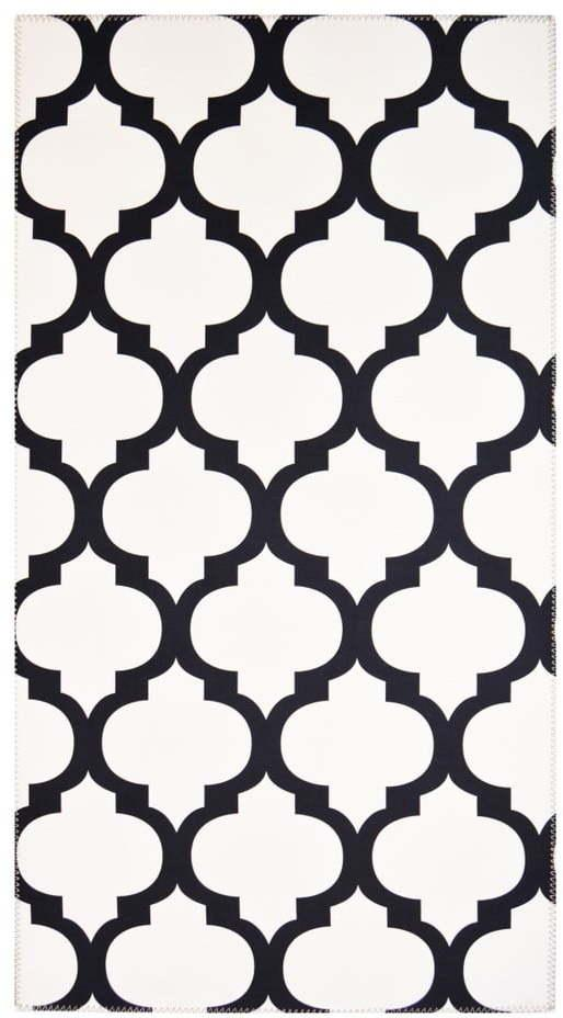 Čiernobiely odolný koberec Vitaus Jessica, 50 x 80 cm