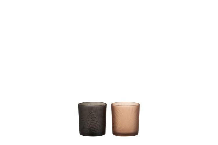 Čierny a hnedý sklenený svietnik na čajovú sviečku s motívom listu - 7,3 * 7,3 * 8 cm