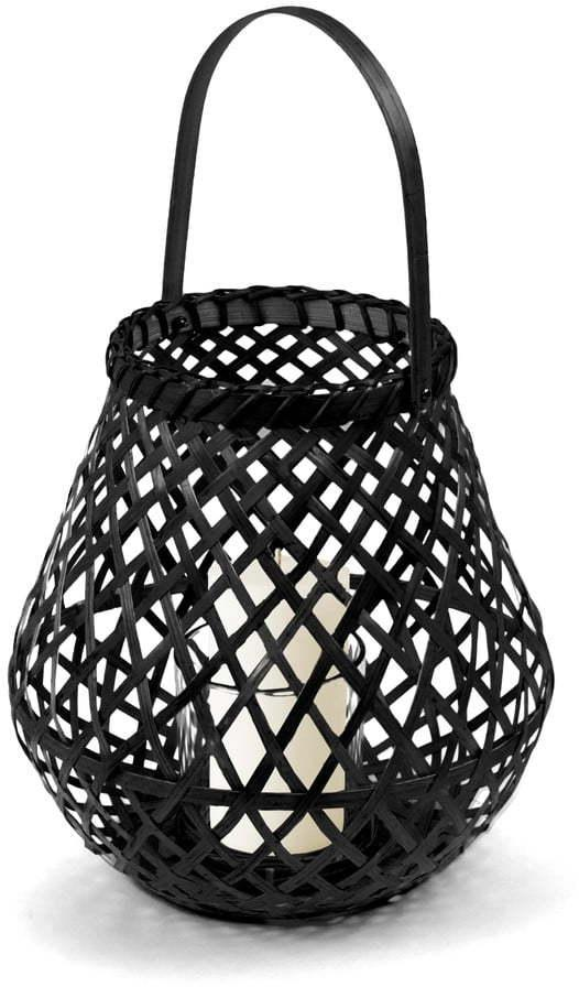 Čierny bambusový lampáš Compactor Bamboo Lantern, ⌀ 25 cm