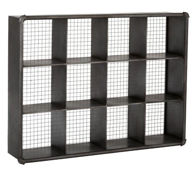 Čierny kovový nástenný policový regál - 121 * 26 * 91cm