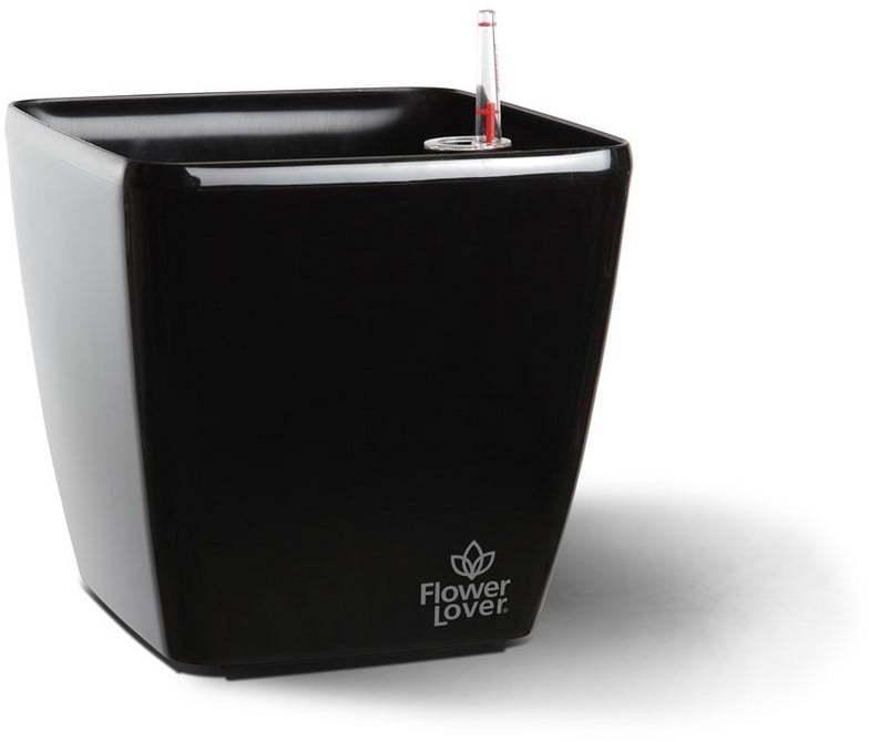 Čierny samozavlažovací kvetináč Flower Lover Quadrato, 34 × 34 cm