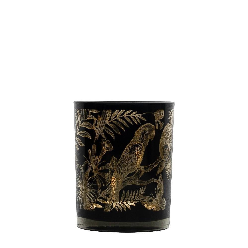 Čierny svietnik na čajovú sviečku s papagájmi - Ø 7 * 8cm