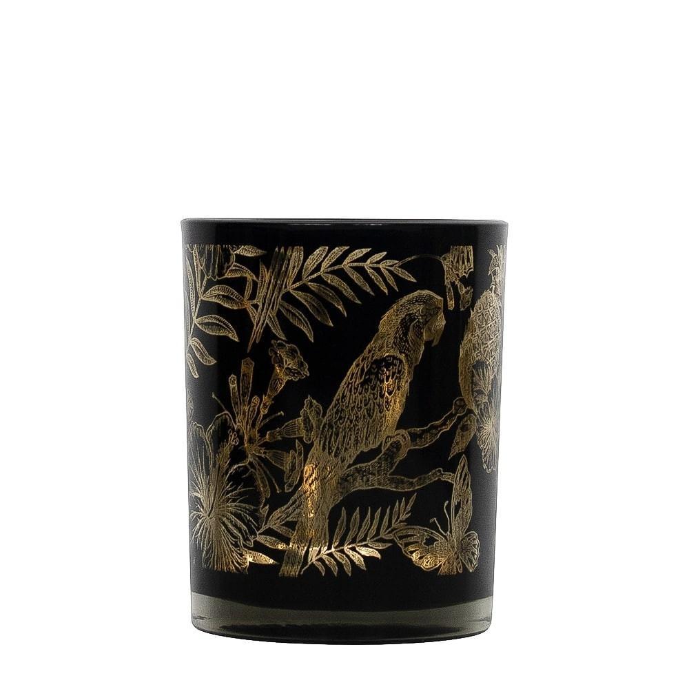 Čierny svietnik na čajovú sviečku s papagájmi M - Ø 8*10cm