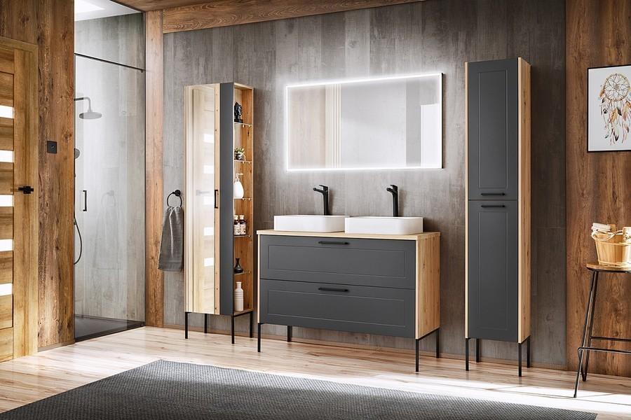 COM Kúpeľňová zostava MADERA Madera Grey: Vysoká skrinka so zrkadlom 803 + nohy 880