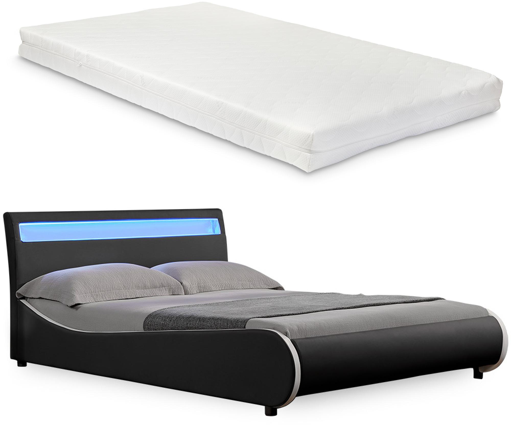 Corium® Moderná čalúnená posteľ 'Valencia' s matracom - čierna - 200 x 140 cm