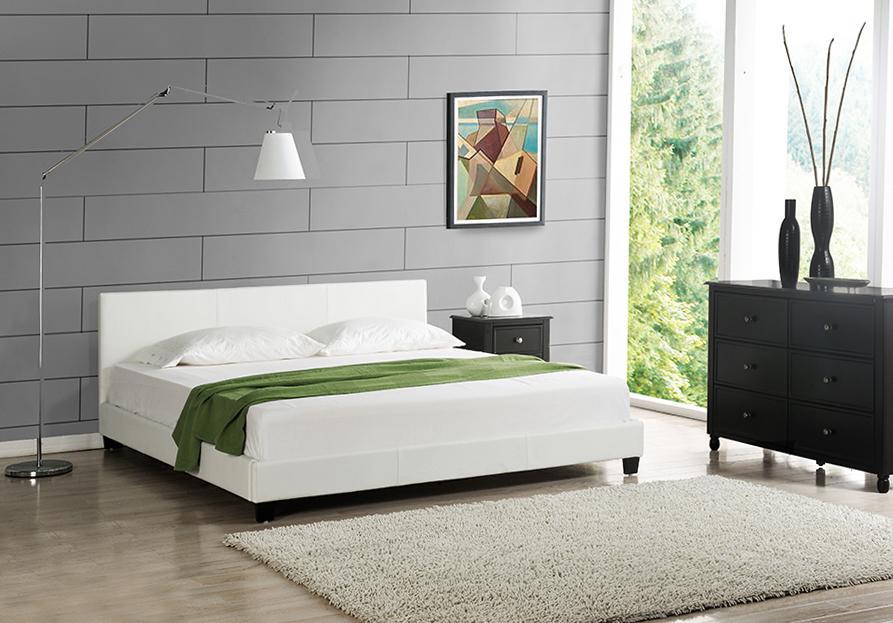 Corium® Moderná manželská posteľ - Barcelona - biela - 140 x 200 cm