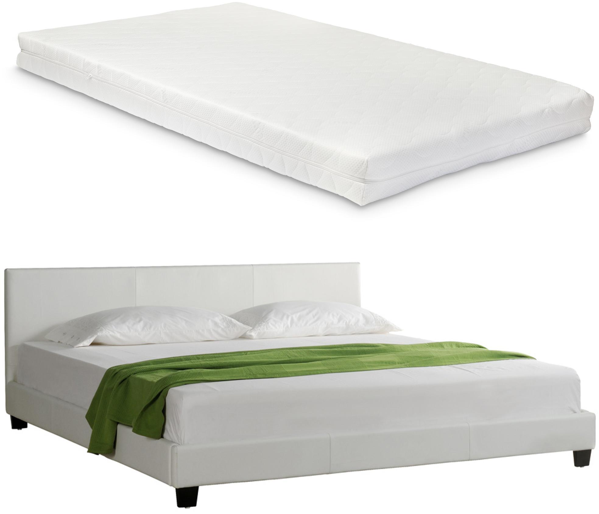 Corium® Moderná manželská posteľ - Barcelona - s matracom - biela - 140 x 200 cm