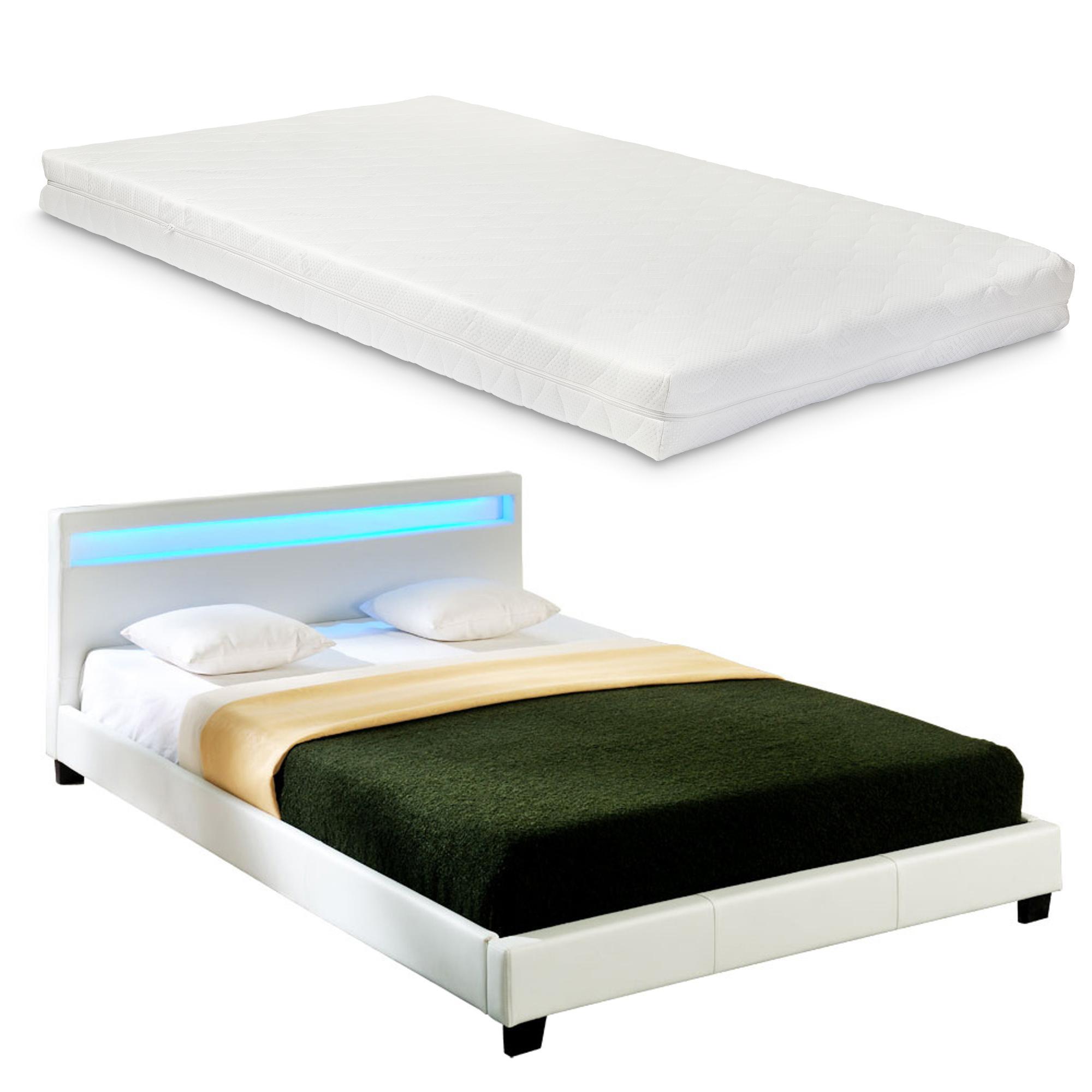 Corium® Moderná manželská posteľ s matracom 'Paris' - biela - 180 x 200 cm