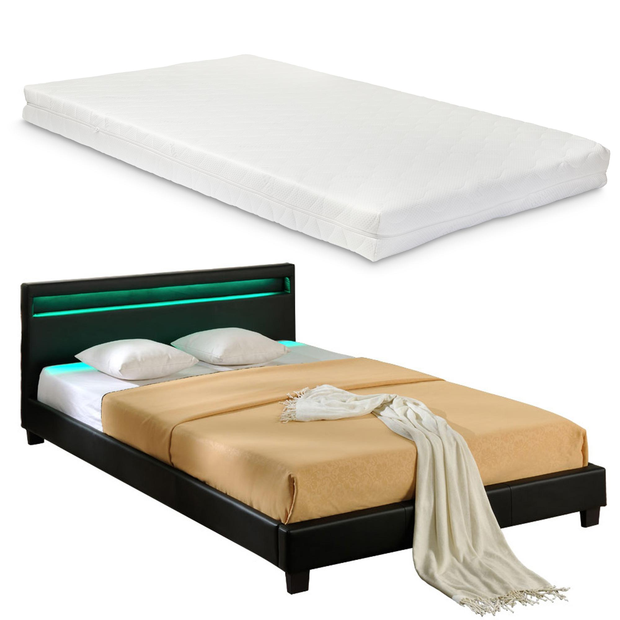 Corium® Moderná manželská posteľ s matracom 'Paris' - čierna - 160 x 200 cm