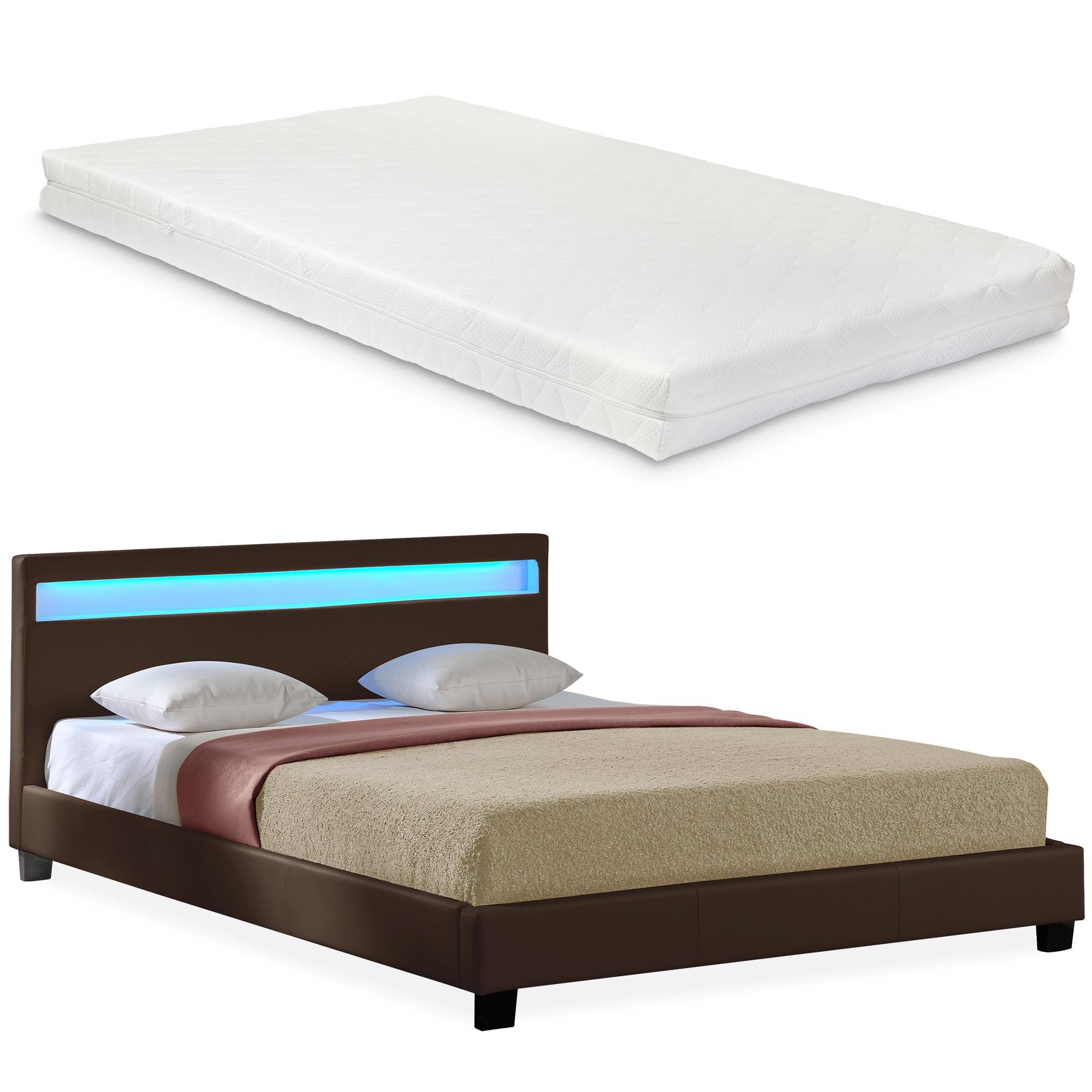 Corium® Moderná manželská posteľ s matracom 'Paris' - tmavo hnedá - 140 x 200 cm
